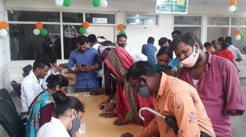 श्रमिकों के लिए कोविड वैक्सीन शिविर बिजौली में आयोजित हुआ